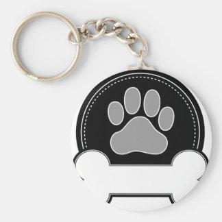 Dog Bone and Paw Basic Round Button Keychain