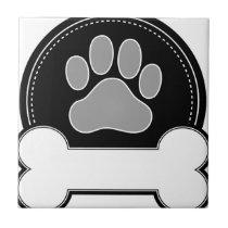 Dog Bone and Paw Ceramic Tile