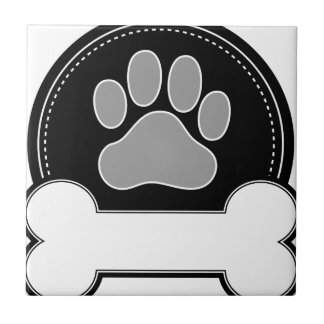 Dog Bone and Paw Ceramic Tile