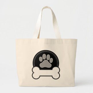 Dog Bone and Paw Large Tote Bag