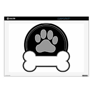 "Dog Bone and Paw 17"" Laptop Skins"