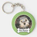 Dog Bone and Polka Dot Pet Photo Frame Basic Round Button Keychain