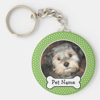 Dog Bone and Polka Dot Pet Photo Frame Keychain