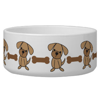 Dog Bone and Stick Figure Doggy Pet Dish Dog Bowls
