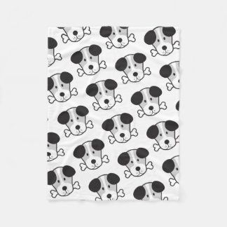 Dog & Bone Big Pattern Monochrome Fleece Blanket