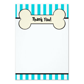 Dog Bone Blue Striped Flat Thank You Note Card