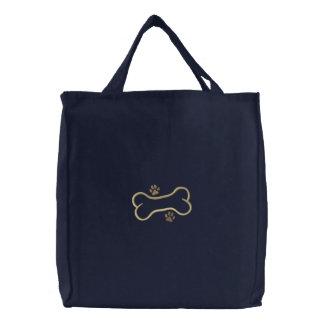 Dog Bone Border Embroidered Tote Bag