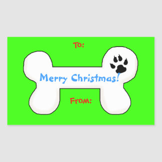 Dog Bone Christmas Fun Gift Tag Rectangular Sticker