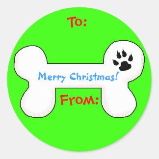 Dog Bone Christmas Gift Tag Classic Round Sticker
