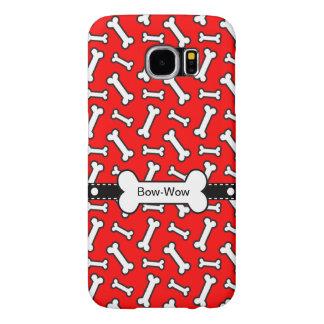 Dog Bone Doggie Bow Wow Bright Red Pattern Samsung Galaxy S6 Case