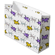 Dog Bone Graffiti Style Choose Color L Gift Bag 1