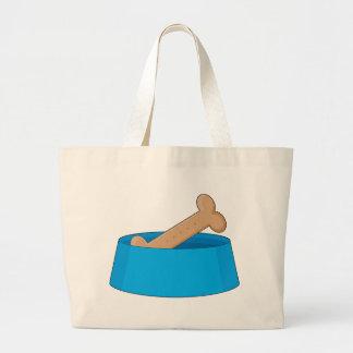Dog Bone In Bowl Tote Bags