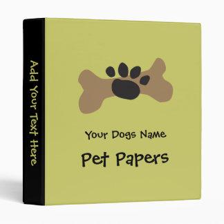 Dog Bone & Paw Print 3 Ring Binder