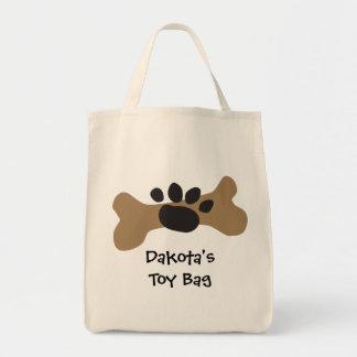 Dog Bone & Paw Print Grocery Tote Bag