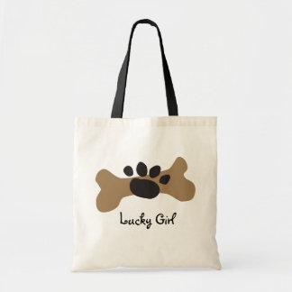 Dog Bone & Paw Print Canvas Bag