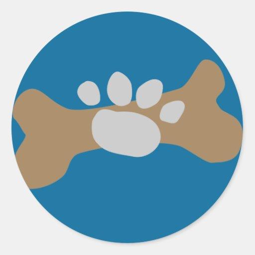 Dog Bone & Paw Print Classic Round Sticker