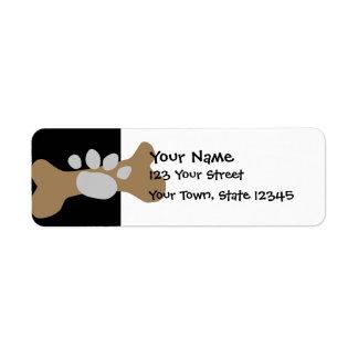 Dog Bone & Paw Print Custom Return Address Labels