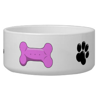 Dog Bone Paw Print Dog Bowl