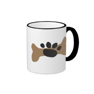 Dog Bone & Paw Print Ringer Coffee Mug