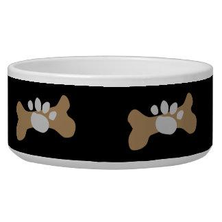 Dog Bone & Paw Print Dog Food Bowl