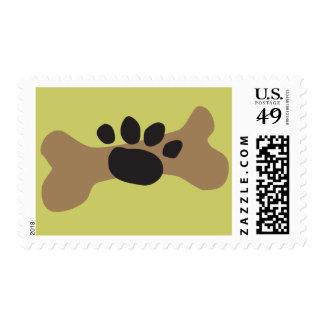 Dog Bone & Paw Print Postage Stamp