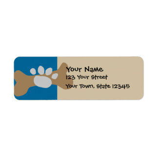 Dog Bone & Paw Print Return Address Label