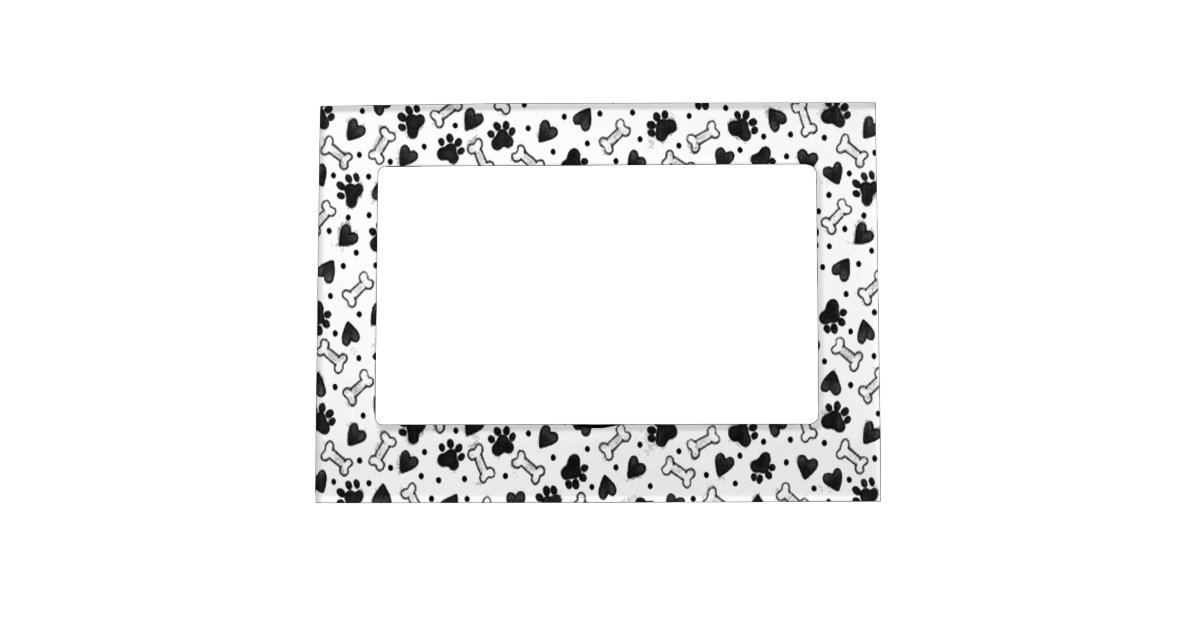 Dog Bone Paw Prints in Black and White Magnetic Photo Frame | Zazzle.com