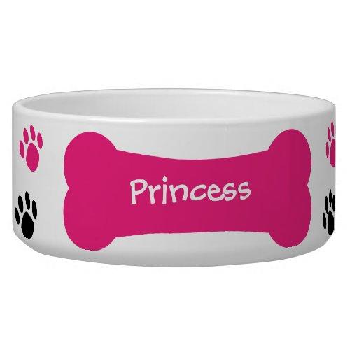 Dog Bone  Paw Prints Personalized Pet Dog Bowl
