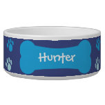 Dog Bone &amp; Paw Prints Personalized Pet Dog Bowl<br><div class='desc'>A perfect dog bone &amp; paw prints personalized pet bowl for your canine companion. Customize to write your dog&#39;s name on this bowl for a great keepsake and for your dog to enjoy for a long time to come. The bowl is different shades of blue.</div>