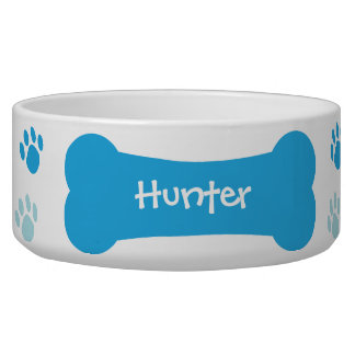 Dog Bone & Paw Prints Personalized Pet Dog Bowl