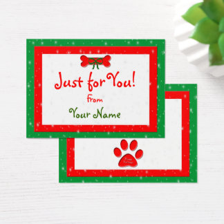 Dog Bone Personalized Christmas Gift Business Card