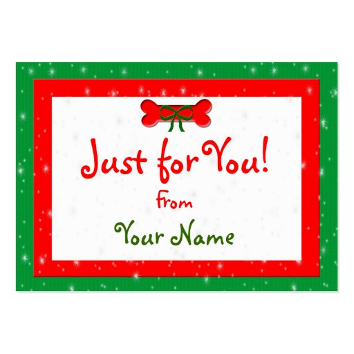 Dog bone personalized christmas gift tags business cards for Personalized gift cards for businesses