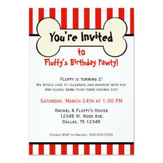 Dog Bone Red Striped Birthday Party Invitation