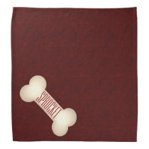 Dog Bone with Pet's Name and Deep Red Bandana