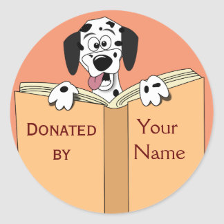 Dog Book Donation Stickers Personalized Name Text