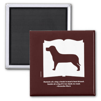 Dog Book Groucho Quote 2 Inch Square Magnet