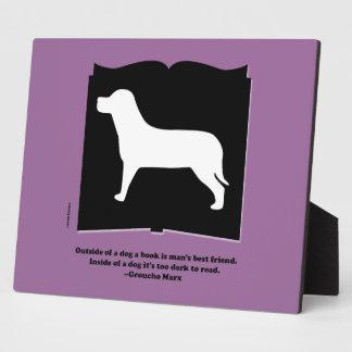 Dog Book Groucho Quote Plaque