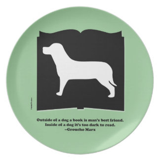 Dog Book Groucho Quote Plate