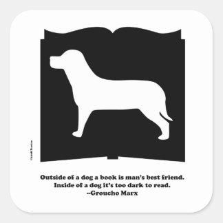 Dog Book Groucho Quote Square Sticker