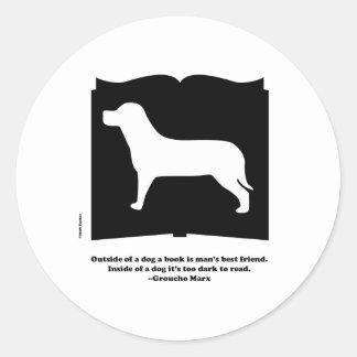 Dog Book Groucho Quote Classic Round Sticker
