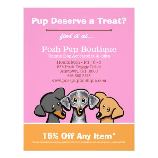 Dog Boutique Shop Three Pups Pink Coupon Ad Flyer