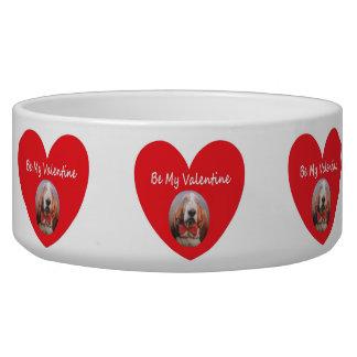 Dog Bowl Basset Hound Heart Red Be My Valentine