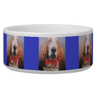 Dog Bowl Basset Hound Red Bow Tie