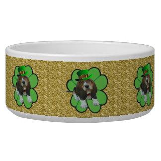 Dog Bowl Basset Hound St Patrick's Clover