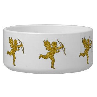 Dog Bowl Cupid Gold Glitter