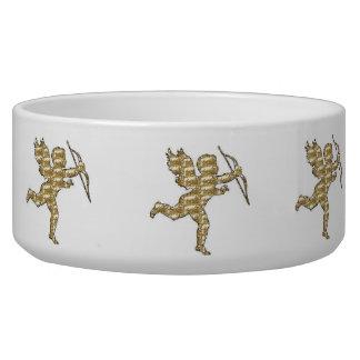 Dog Bowl Cupid Gold Ribbed