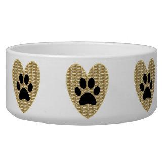 Dog Bowl Gold Ribbed Black Paw Heart