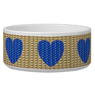 Dog Bowl Gold Ribbed Blue Heart Glitter