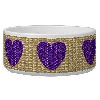Dog Bowl Gold Ribbed Purple Heart Glitter