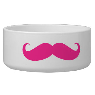 Dog Bowl - Hot Pink Mustache